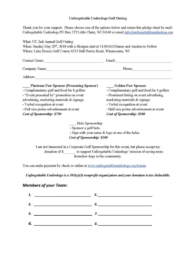 Golf outing sponsor form unforgettable underdogs golf outing sponsor form thecheapjerseys Image collections